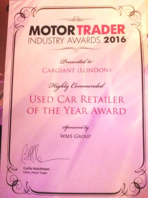 Cargiant Highly Commended Used Retailer of the Year Award Certificate